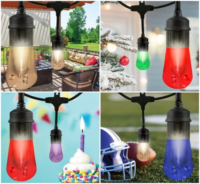 Celebrate any occasion, holiday or favorite sports team or choose warm vintage white for year-round lighting with one color, two-color combinations or a variety of preset color modes and effects.