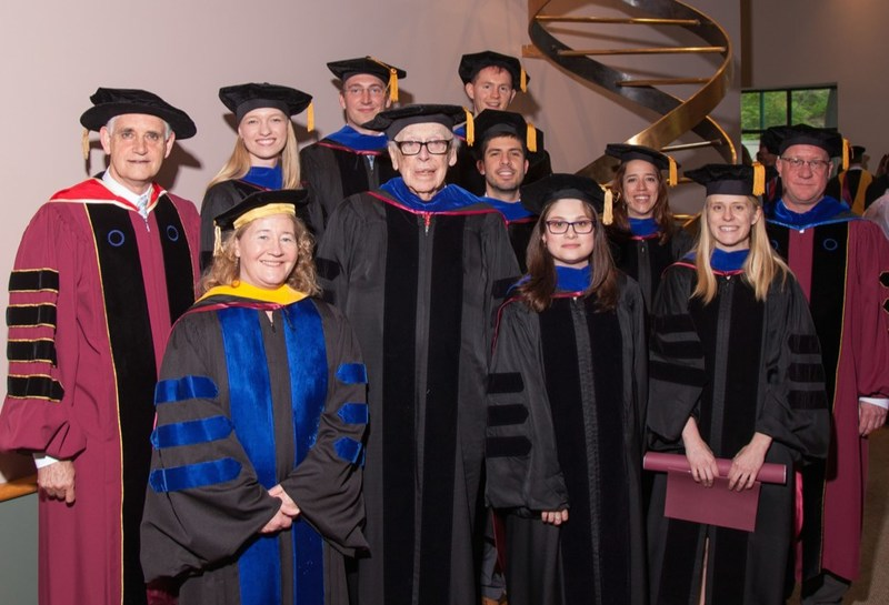 7 of the new Ph.D.s from Watson School of Biological Sciences, pictured with (l-r) CSHL President Bruce Stillman, Nobel laureates Carol Greider and James D. Watson, and WSBS Dean Alex Gann (far right)