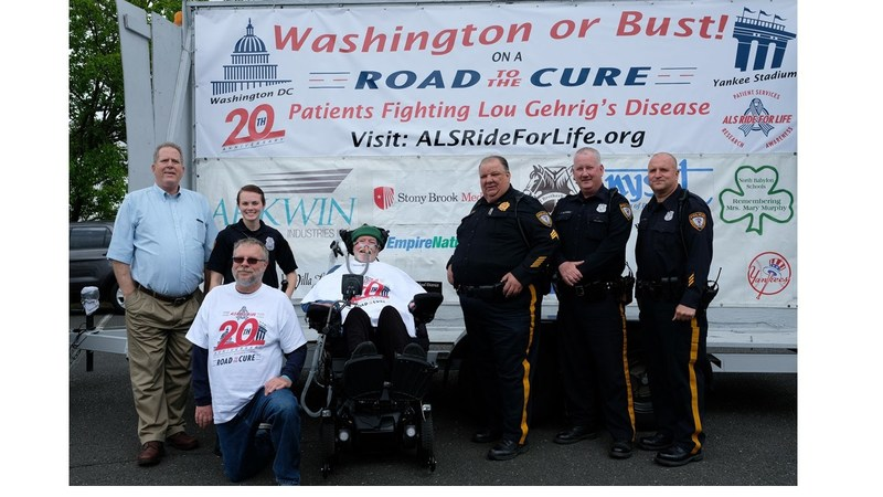 Mayor Kennedy O'Brien of Sayreville, NJ, and local police officials were on hand to greet Chris Pendergast during his 20th Anniversary ALS Ride for Life, Saturday, May 5th.