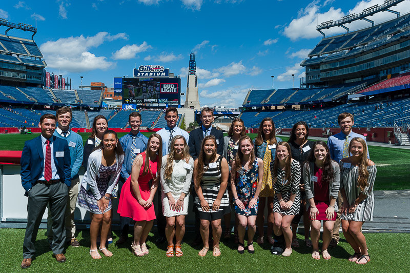 Hood Milk honored 18 local high school seniors with sportsmanship scholarships at Gillette Stadium on Sunday May 7th.