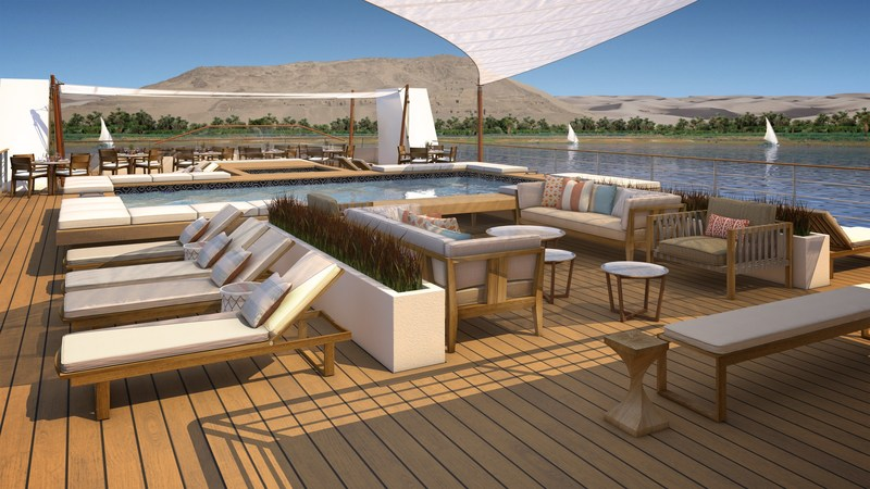 An artist's rendering of the Pool Deck onboard Viking Ra, a new all-suite ship design for Viking River Cruises. The ship will begin sailing a new cruisetour on Egypt's Nile River in March 2018. Visit www.vikingrivercruises.com for more information.