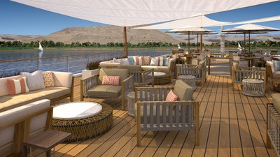 An artist's rendering of the Sun Deck onboard Viking Ra, a new all-suite ship design for Viking River Cruises. The ship will begin sailing a new cruisetour on Egypt's Nile River in March 2018. Visit www.vikingrivercruises.com for more information.