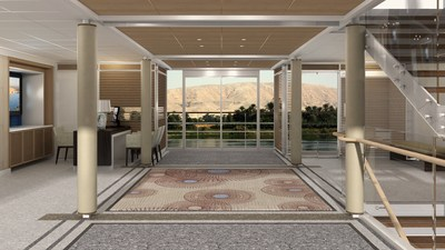 An artist's rendering of the reception area onboard Viking Ra, a new all-suite ship design for Viking River Cruises. The ship will begin sailing a new cruisetour on Egypt's Nile River in March 2018. Visit www.vikingrivercruises.com for more information.