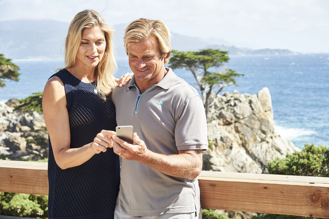Built with IBM Watson, the new Pebble Beach app helps big-wave surfer Laird Hamilton and pro volleyball player Gabrielle Reece navigate Pebble Beach Resorts. The app enables visitors to experience one of the country's most beautiful destinations as if traveling with a local guide. Credit: Jennifer Pottheiser for IBM