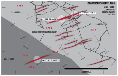 Island Mountain Level Plan Shaft Zone (CNW Group/Barkerville Gold Mines Ltd.)