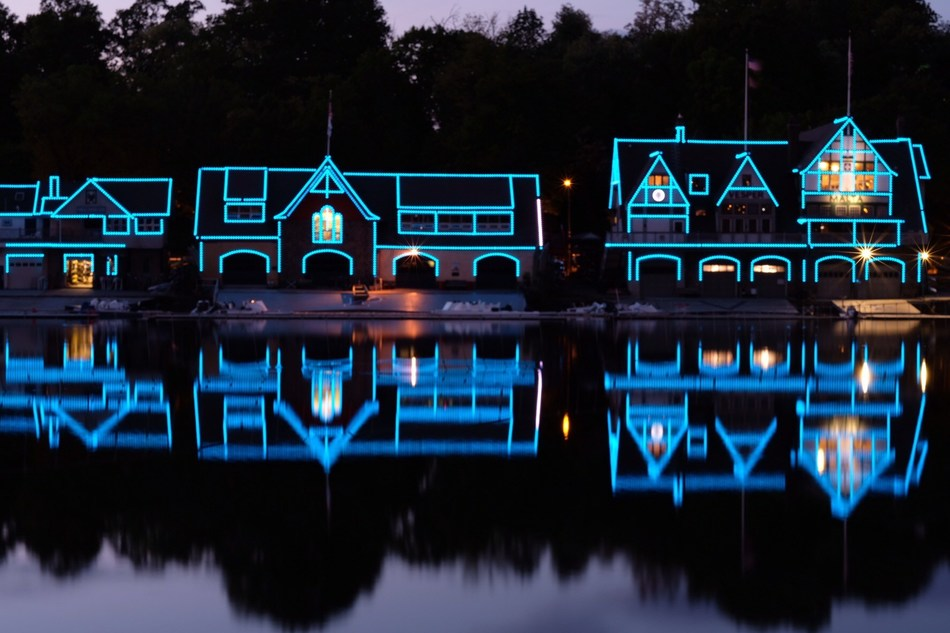 Boathouse Row (PA) Turquoise Takeover Illumination: The Boathouse Row in Philadelphia, PA, illuminates in turquoise to support the American Lung Association's LUNG FORCE initiative.