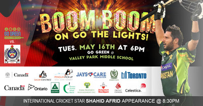 Celebrate Canada's First Cricket Field with LED Lights With the international cricket star Shahid Afridi (CNW Group/Go Green Cricket and Sports Field)