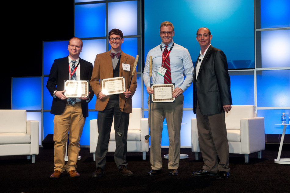 2017 SME Digital Manufacturing Challenge winners from left to right: Eric Gilmer, Camden Chatham, and Jacob Fallon of Virginia Polytechnic Institute, and Carl Dekker, chair of the SME's DDM Technical Group.
