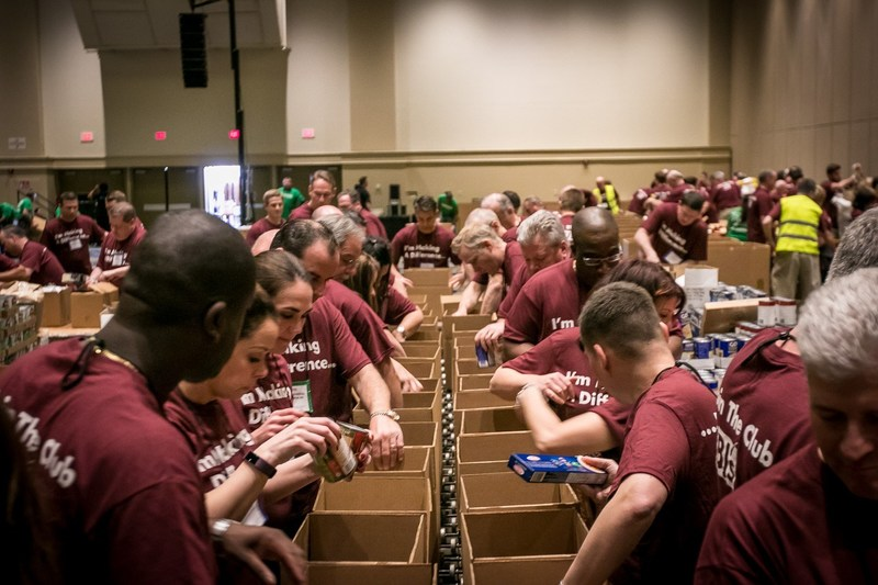 BJ's Team Members build 4,500 Healthy Pantry Boxes and repack 40,000 pounds of farm-farm fresh potatoes into family-sized packs for Second Harvest Food Bank of Central Florida, a Feeding America Member food bank, during BJ's Annual Team Member Conference on March 8, 2017.
