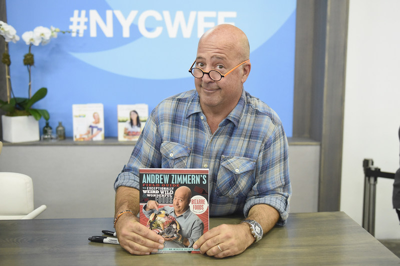 NEW YORK, NY - OCTOBER 16: Chef Andrew Zimmern during the Grand Tasting presented by ShopRite featuring Samsung Culinary Demonstrations presented by MasterCard at the Food Network & Cooking Channel New York City Wine & Food Festival presented by Coca-Cola at Pier 94 on October 16, 2016 in New York City. (Photo by Nicholas Hunt/Getty Images for NYCWFF)