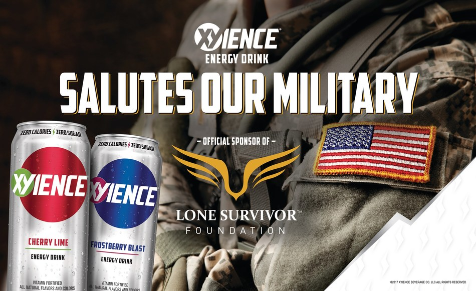 """XYIENCE, the original great tasting, zero calorie energy beverage, is supporting the Lone Survivor Foundation to further their mission to restore, empower, and renew hope for wounded service members and their families. Until August 20, XYIENCE will recognize a military """"Hero of the Week"""" on the brand's social media pages and make a donation to the Lone Survivor Foundation in his/her honor. Nominations will be accepted starting today via XYIENCE.com. (PRNewsfoto/XYIENCE)"""