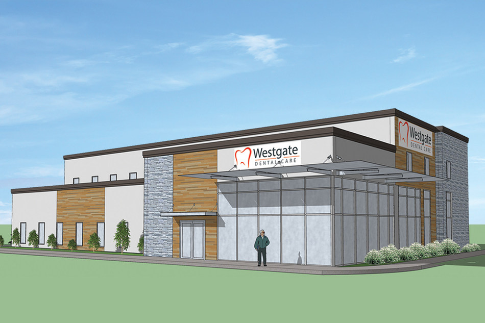 Rendering of Westgate Dental Care's new, state-of-the-art facility. The building will be over 9000 sq. ft. and span two stories - more than seven times the size of the current practice in downtown Arlington Heights.