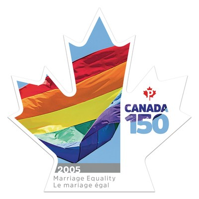 Canada Post stamp commemorating the 2005 passage of the Civil Marriage Act (CNW Group/Canada Post)