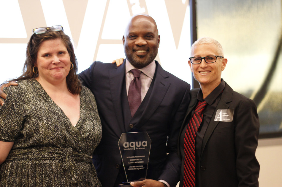 From L to R: Caitlin Wood, Lamell McMorris, and Robin Schwartz at the Aqua Ally Awards in Miami on May 5, 2017.