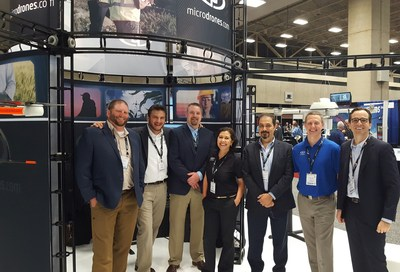 The Microdrones team at their booth, #1031, at AUVSI XPONENTIAL. Pictured from left to right: Chuck Dorgan, Mike Dziok, Rick Rayhel, Elena Rodriguez, Dr. Mohamed Mostafa, Mike Hogan, and Vivien Heriard Dubreuil.