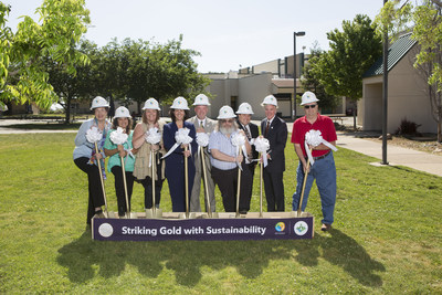 (From L to R) Amador County Public Schools Board Member Susan Ross, Board Member Rose Andrews-Oneto, Board Clerk Kandi Thomspon, Superintedent Dr. Amy Slavensky, Assistant Superintendent Tim Zearley, Board President Bob Laurent, Office of Tom Berryhill's District Director Dana Jorgensen, California State Superintendent Tom Torlakson, and Amador County Supervisor Patrick Crew breaking ground on new Amador GOLD program on May 8th, 2017.
