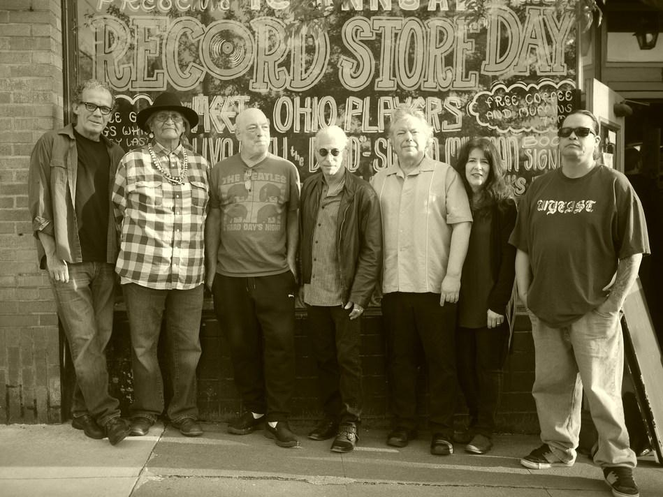 JOEL RAFAEL WITH JOHN TRUDELL'S BAD DOG (L-R: Billy Watts, Quiltman, Ricky Eckstein, Joel Rafael, Mark Shark, Debra Dobkin, T)