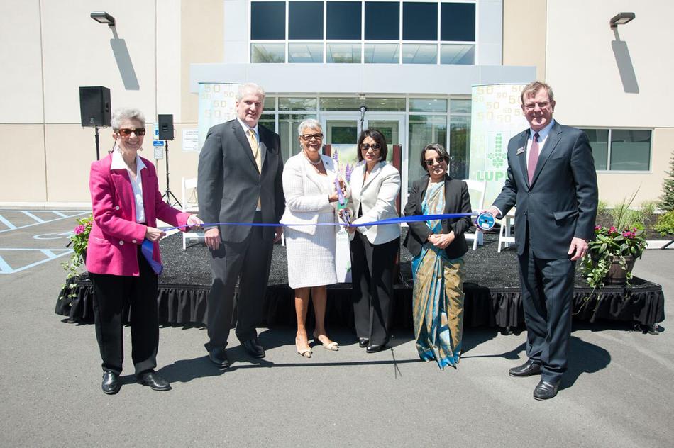 From L to R: Councilwoman Rozalyn Sherman; Lupin President Kurt Nielsen; U.S. Representative Bonnie Watson Coleman; Lupin CEO Vinita Gupta; Ambassador Riva Ganguly Das; Michael V. Kerwin, President & CEO, SCBP