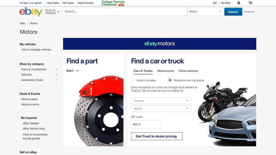 eBay Motors partners with TrueCar in the U.S. to offer buyers helpful tools when shopping for new vehicles.