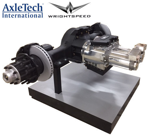 Wrightspeed's Geared Traction Drive™, fitted to a custom AxleTech International drive axle, provides high-power electric drive and regenerative braking