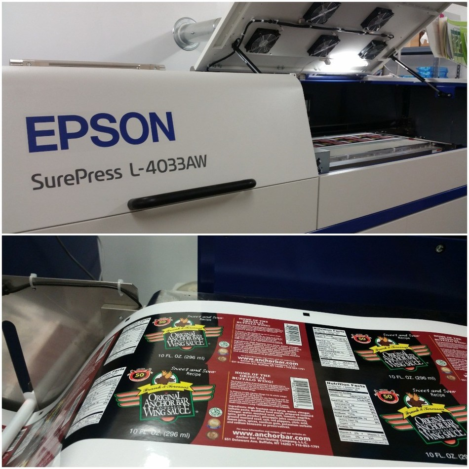 A sample of Sharp Labels & Printing, Inc.'s labels produced on the Epson SurePress L-4033AW digital label press.