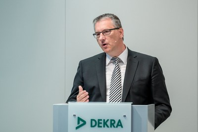 Stefan Kölbl, Chairman of the Boards of Management of DEKRA e.V. and DEKRA SE, presenting the financial statements for 2016 in Stuttgart (PRNewsfoto/DEKRA SE)