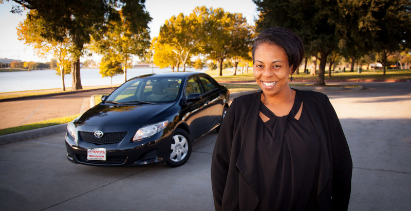 On the Road Lending client Ericka Griffin with her certified pre-owned 2009 Corolla (Photographer/John B. Sutton, Jr., Sutton Pictures)