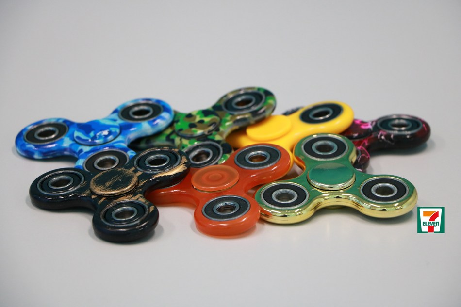 Flying off the shelves, 7-Eleven stores sell Fidget Spinners, the popular new toy designed to calm nerves, ease anxiety and provide hours of entertainment.