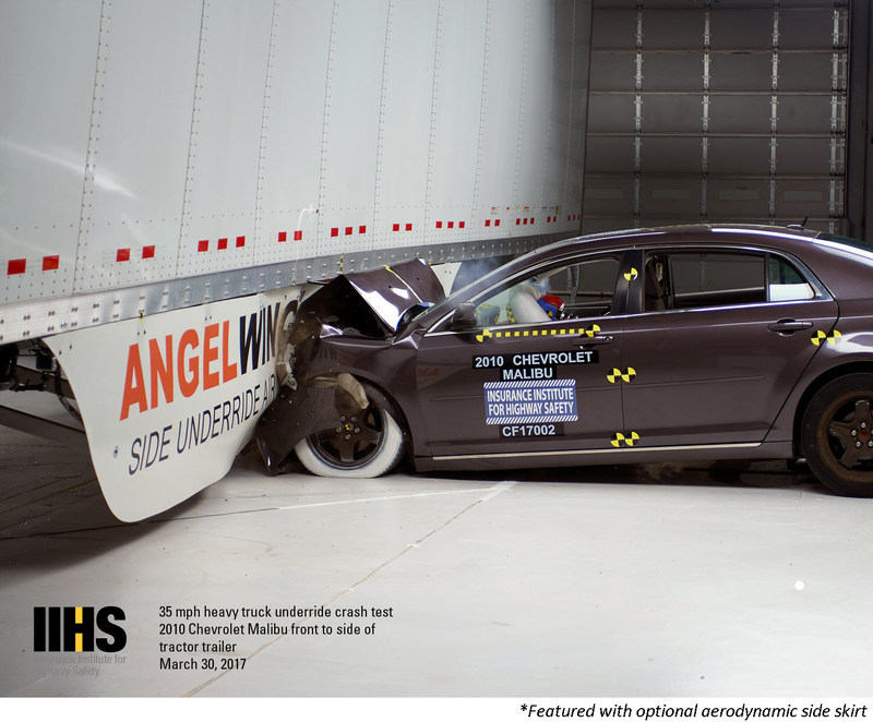 The AngelWing side guard (top) stopped the car from going underneath the trailer. Without a side underride guard, the car in the second 35 mph test (bottom) lodged beneath the trailer.