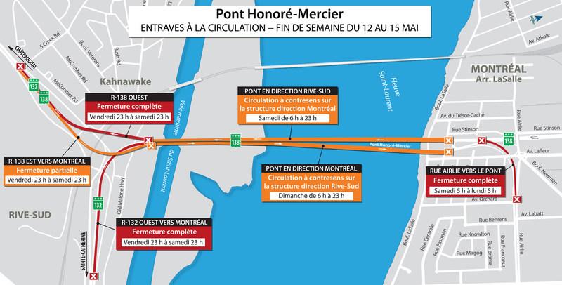 Entraves à la circulation prévues dans la fin de semaine du 12 au 15 mai (Groupe CNW/Ministère des Transports, de la Mobilité durable et de l'Électrification des transports)