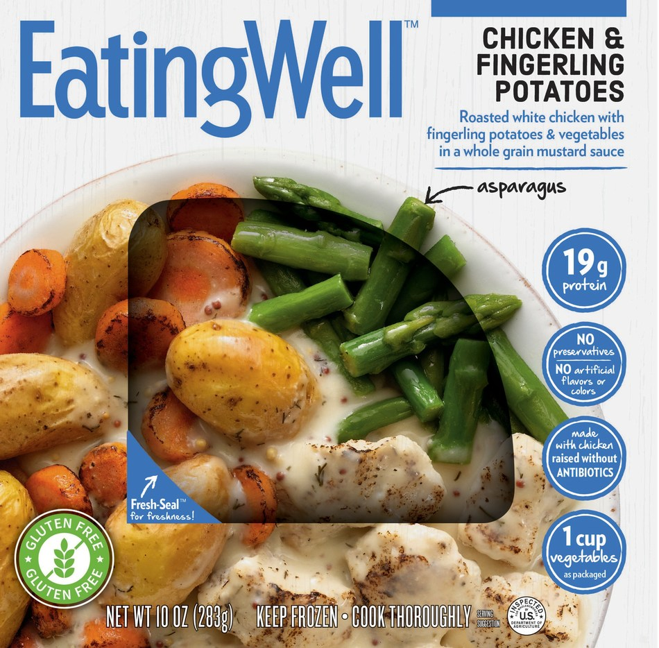 EatingWell is pleased to introduce six delicious new flavors to its single-serve frozen entree line, including Chicken & Fingerling Potatoes. Each entree provides convenient, great-tasting food made to fit consumers' healthful lifestyles, with adventurous world flavors, lots of vegetables, whole grains, and lean proteins.