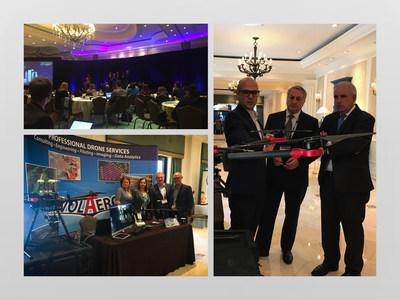 Carlos A. Giménez, alcalde del Condado de Miami-Dade, habla sobre tecnologías de drones con Jeff Fidelin, piloto principal de drones, y Charles J. Zwebner, CEO de Volaero Drones Corporation