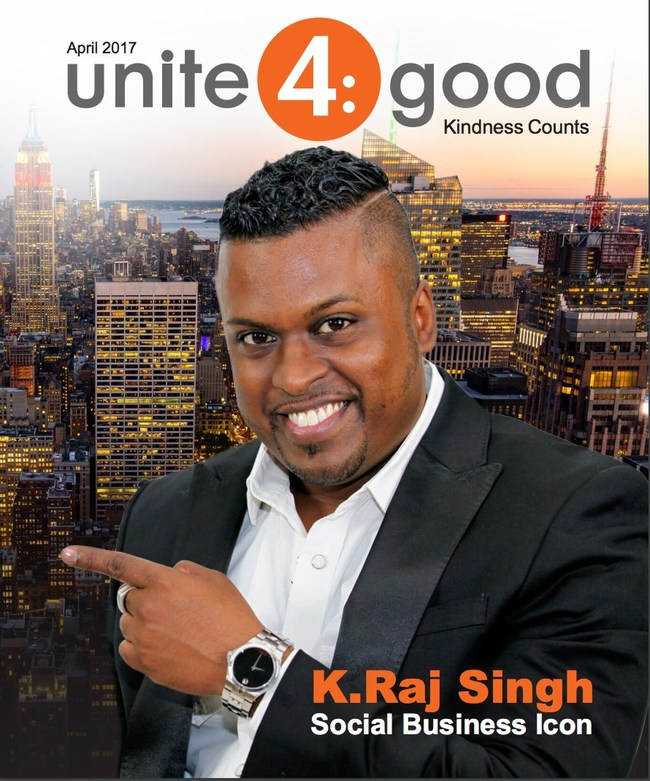 K. Raj Singh is featured in the Unite4:Good Magazine.