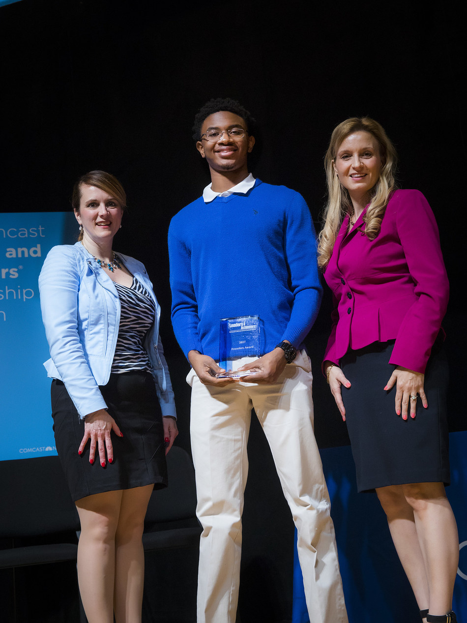 New Jersey Commissioner of Education Kimberley Harrington; Jacob Bauldock, 2017 Comcast Founders Scholarship recipient; Stephanie Kosta, Comcast Regional Vice President of Government and Regulatory Affairs.