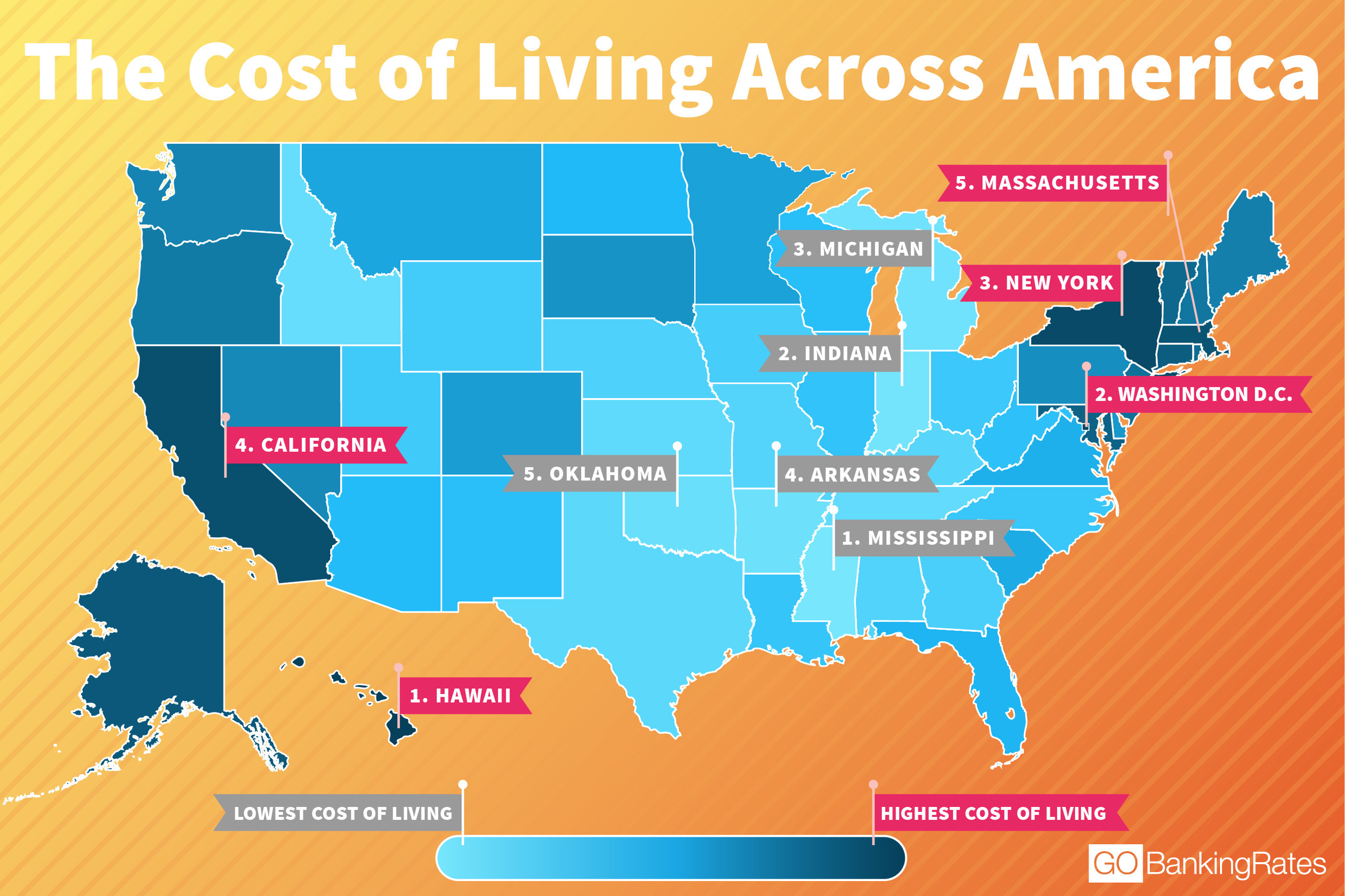From California To New York The Cost Of Living Across America - Cost-of-living-us-map