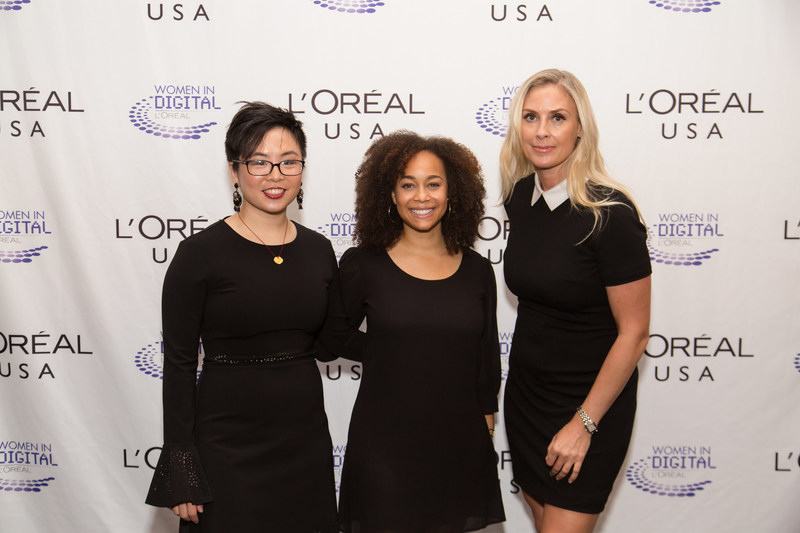 2016 Women in Digital finalists: Grace Woo, Co-Founder Pixels.IO; Morgan DeBaun, CEO of Blavity and Grainne Barron, CEO and Founder, Viddyad/ Courtesy of L'Oréal (PRNewsfoto/L'Oreal USA)