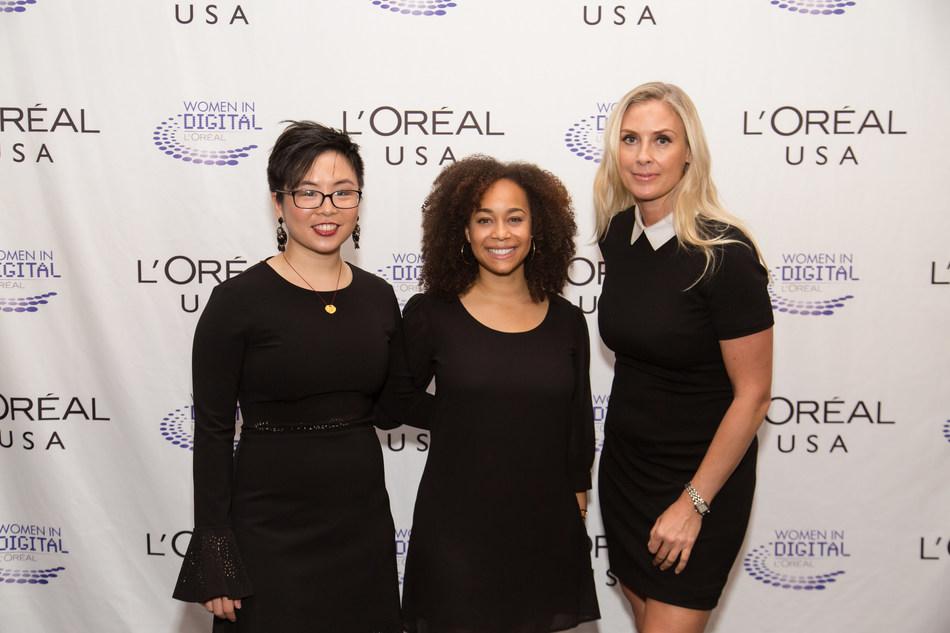 2016 Women in Digital finalists: Grace Woo, Co-Founder Pixels.IO; Morgan DeBaun, CEO of Blavity and Grainne Barron, CEO and Founder, Viddyad/ Courtesy of L'Oréal (PRNewsfoto/L'Oreal USA)
