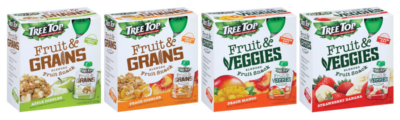 Tree Top's Fruit & Grains and Fruit & Veggies Pouches are now available in select retailers across California, Montana, Idaho, Colorado, Washington, Oregon, and Wyoming.