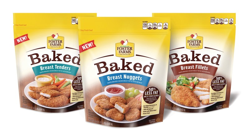 Foster Farms' new Baked line features three varieties - Chicken Breast Nuggets, Chicken Breast Fillets and Chicken Breast Tenders - with half the fat and 25 percent fewer calories than traditional offerings*. Foster Farms is the first major U.S. poultry producer to offer a full line of baked - never-fried - cooked chicken products distributed nationwide.