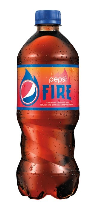 """Pepsi launches limited-edition cinnamon flavored cola, Pepsi Fire, with their summer """"Get It While It's Hot"""" campaign."""