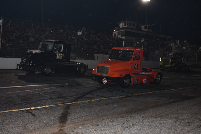 Tommy Boileau (#16) and Chris Kikelhan (#01) battle for position at Hickory Motor Speedway March 25th.