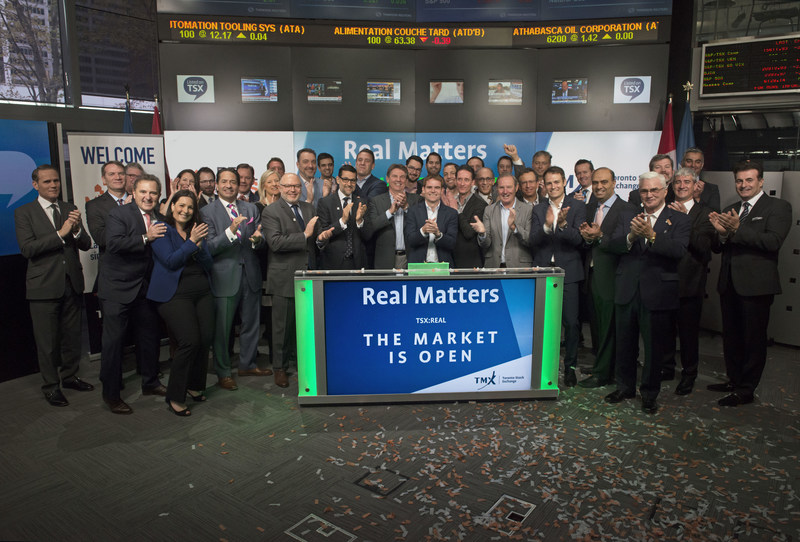 Jason Smith, President and Chief Executive Officer, Real Matters Inc. (REAL), joined Ungad Chadda, President, Capital Formation, Equity Capital Markets, TMX Group, to open the market. Established in 2004, Real Matters is a network management services provider for the mortgage lending and insurance industries. Real Matters' platform combines proprietary technology and network management capabilities with tens of thousands of independent qualified field agents to create an efficient marketplace for the provision of mortgage lending and insurance industry services. Real Matters Inc. commenced trading on Toronto Stock Exchange on May 11, 2017. (CNW Group/TMX Group Limited)