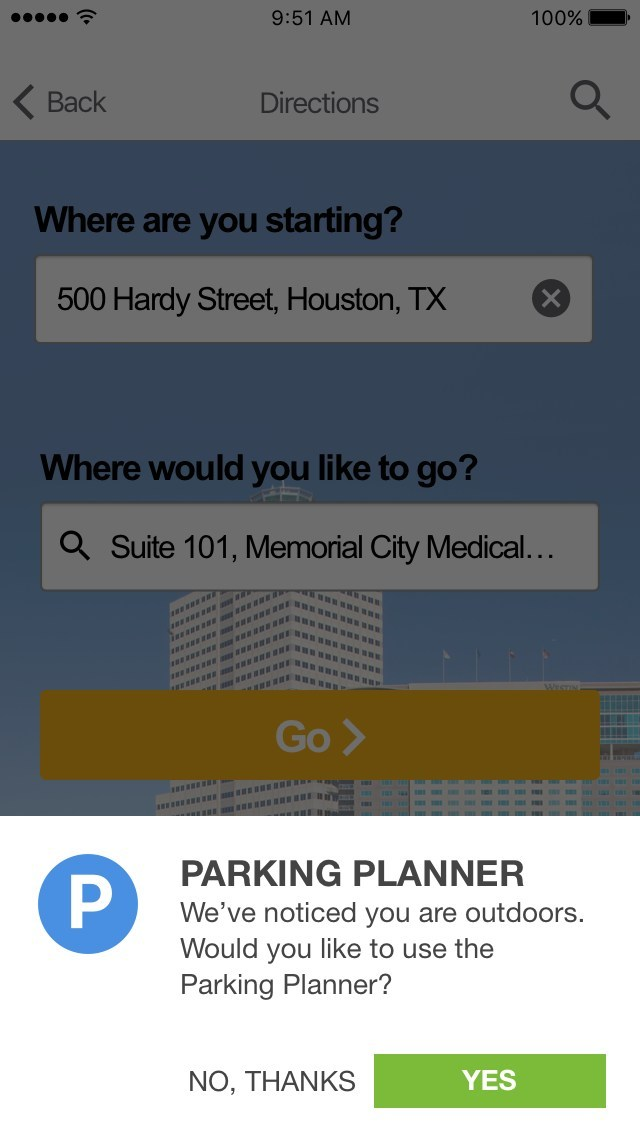 Advanced features, such as a parking planner, marks the exact parking location and navigates the user back to his or her car when finished with an appointment or visit.