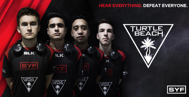Popular Australian eSports organization SYF GAMING has partnered with Turtle Beach and will begin using the company's ELITE PRO line as their gaming audio gear of choice. (Shown: SYF GAMING's pro Call of Duty team, donning the Turtle Beach logo on their new jerseys and ELITE PRO headsets around their shoulders.)