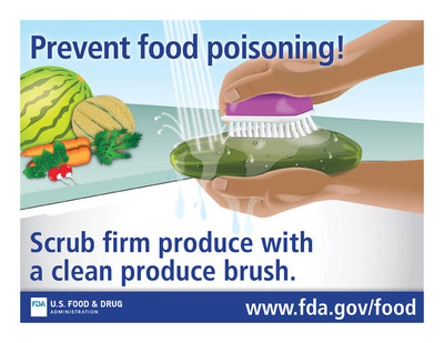 Prevent food poisoning! Scrub firm produce with a clean produce brush.