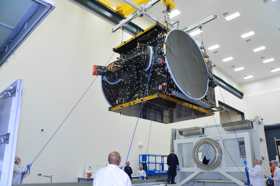 Built by SSL, the first satellite for Bulgaria has successfully arrived at the SpaceX launch base. (CNW Group/SSL)