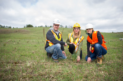 Mike Le Breton, Land & Resources Manager for CBM Aggregates, a division of Votorantim Cimentos; Jennifer Bernard, Lands Coordinator for CBM's Aggregates Division; and Kerry McLaven, Forests Ontario's Forest Program Manager at Canada Building Materials Sunderland Sand & Gravel Pit as 20,000 trees are planted as part of the Durham 5 Million Tree Program. (CNW Group/Forests Ontario)