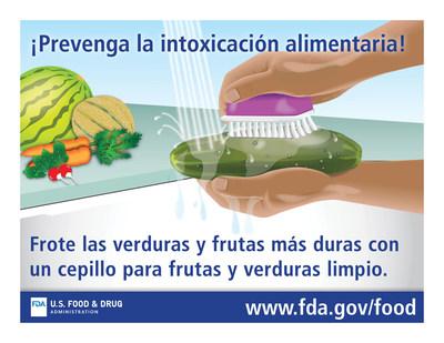 ¡Prevenga la intoxicación alimentaria! Frote las verduras y frutas más duras con un cepillo para frutas y verduras limpio.