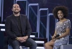Dillon Carman and host Arisa Cox share a laugh on stage watching his goodbye messages after his eviction on Big Brother Canada (CNW Group/Global Television)