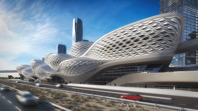 One of Riyadh Metro's new iconic stations designed by Zaha Hadid Architects. The High Commission for the Development of Arriyadh is building the world's largest public transit system. (CNW Group/The High Commission for the Development of Arriyadh (HCDA))